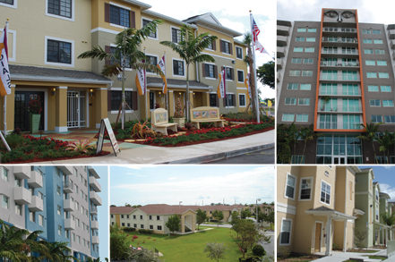 graphic featuring multiple exterior shots of apartment complexes