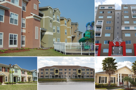 graphic featuring multiple exterior shots of apartments
