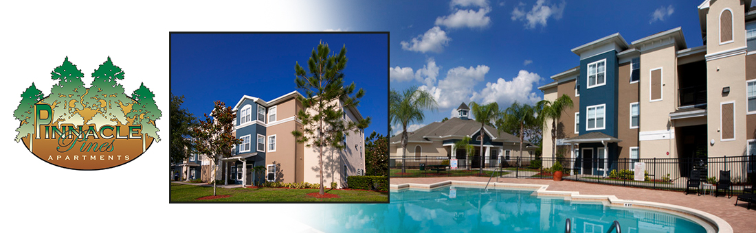 Pinnacle Pines Apartments exterior shot and pool